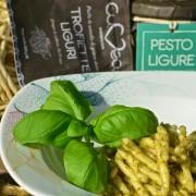 italian trofie pasta with pesto sauce
