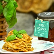 red pesto with trenette pasta